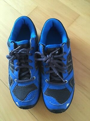 Kids Decathlon Hiking Shoes - Charcoal Grey with Blue trim Size UK 1.5