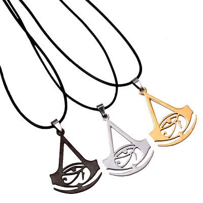 Assassins Creed Origins Logo Leather Chain necklace Stainless steel Pendant