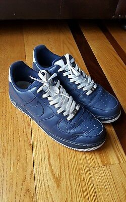 6d95e475f021b Nike Mens Air Force 1 AF1 Navy Blue/White Sneaker Shoe 315122-411 SIZE