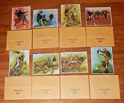 VTG 1966 Green Bay Packers In Action Set Of Eight Prints MOBIL OIL w Envelopes