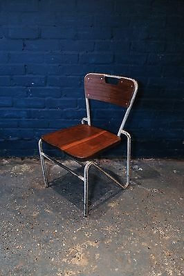 Mid Century Industrial Steel Work Stacking Chair with Mahogany Seats and back