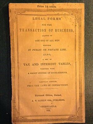 Legal Forms for Transaction of Business, Set of Tax & Interest Tables Book 1850
