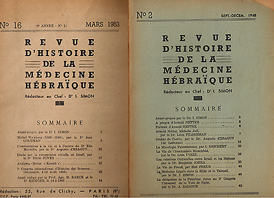 10 Issues 1948 - 1962 Revue d'Histoire Medecine Hebraique, History of Medicine