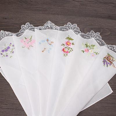 Beautiful Women's Cotton Handkerchiefs Butterfly Lace Flower Embroidered 6 pcs