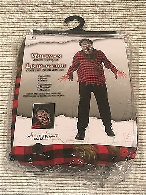 WOLFMAN Adult Costume Plastic Wolf Mask w/Plaid Shirt ONE SIZE FITS MOST