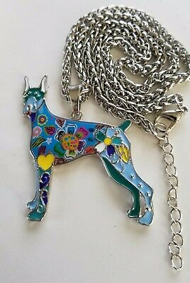 Doberman Jewelry Necklace Pendant Enamel Dog Paw