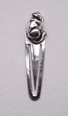 Sterling Silver Antique Style Cat Bookmark - Great Gift For Book Lovers!