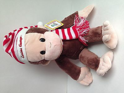 Gund Curious George Plush in Christmas Red and White Striped Hat