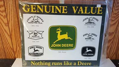 "John Deere ""history Of Trade Marks"" Tractor Tin Sign  12.5 "" X 16""  Usa New Sale"