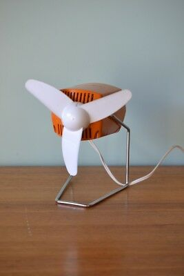 Vintage Small orange desk fan retro