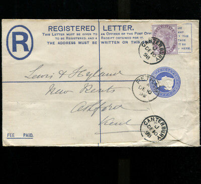 Petham Kent Registered Cover 1898 sent to Ashford