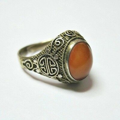 Antique Art Deco Chinese Export Silver Ring - Carnelian - Adjustable -1920s
