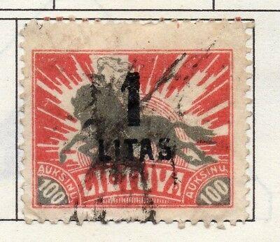 Lithuania 1919-22 Early Issue Fine Used 1L. Surcharged 174397