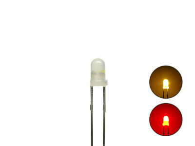S1052 -20 Stück DUO LEDs 3mm Bi-Color diffus gelb rot Lichtwechsel Loks Wendezug