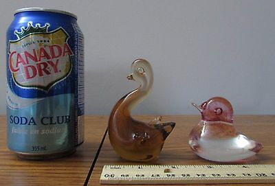 Vintage 2 Paperweight Art Glass Swan Bird Duck Pink Speckled Amber