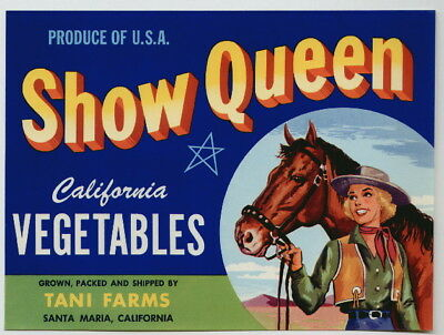 SHOW QUEEN Santa Maria Crate Label, Western Cowgirl, Horse, *AN ORIGINAL LABEL*