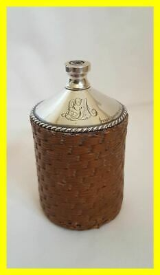Late Victorian Silver/wicker Table Lighter,arbuthnot Family Crest,percy Edwards