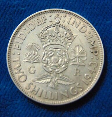 Great Britain ENGLAND British Florin Two 2 SHILLINGS 1943 SILVER COIN