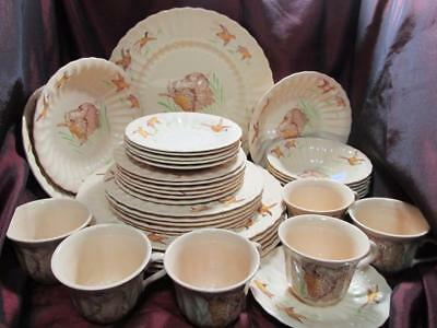 Rare 37 Pieces Vintage Wade Dog & Pheasant Pottery Dinnerware Ware Kt2661