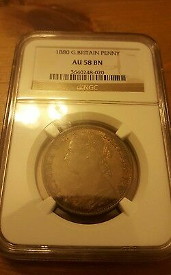 About Uncirculated 1880 Penny Au Unc