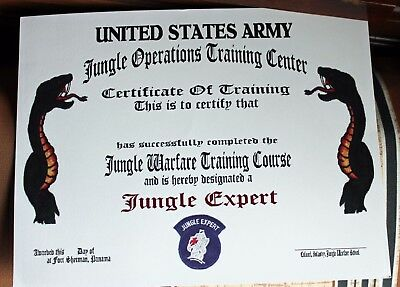 US Army Jungle Expert Jungle Operations Training Center certificate