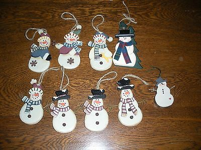 """9 wooden Christmas ornaments primtive country design 3-D metal bells 3"""" to 5"""""""