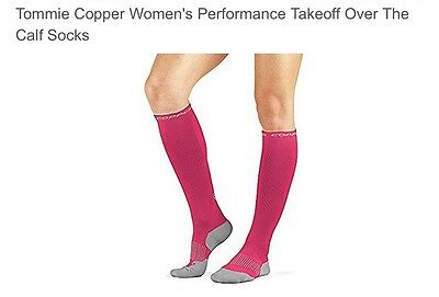 2 Pairs Tommie Copper Women's Over The Calf Socks Compression Socks Pink  7-9.5
