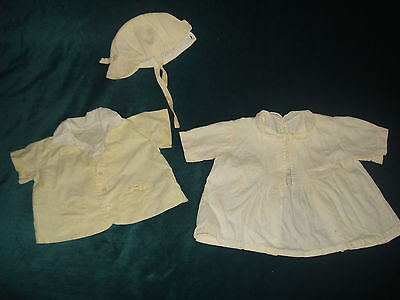 3 VNTG 50's/60's BABY BOY'S DOLL CLOTHES 2 PC. JACKET/BONNET & BIB GOWN OUTFITS