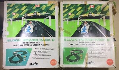 1960's Vintage Eldon Power Pack 8 2 Sets Of Slot Car Race Track Cars And Boxs