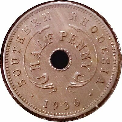 Southern Rhodesia  1936 Half Penny ~ Scarce Date ~ Extremely Fine