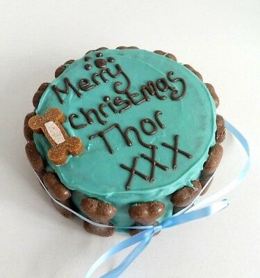 DOG CHRISTMAS CAKE PEANUT BUTTER treat puppy gift blue NOW TAKING ORDERS