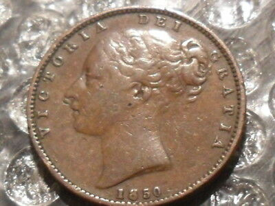 1850 Victoria Young Head farthing.