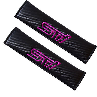 2 X Carbon Fiber STI PINK Car Seat Belt Cover Pads Shoulder Cushion New