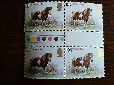 GB Mint and unmounted Shetland Pony - block of 4 stamps (1978)