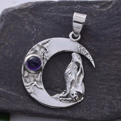 Sterling Silver & Amethyst Moon Gazing Hare Pendant. Pagan/Wiccan.