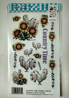 Country rooster rub-on decorative transfers