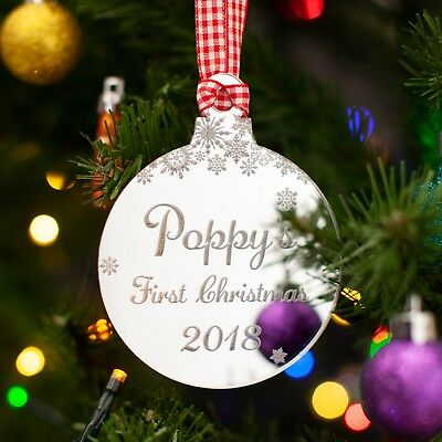 Baby's First Christmas, Personalised Mirror Tree Decoration. Snowflakes Bauble.