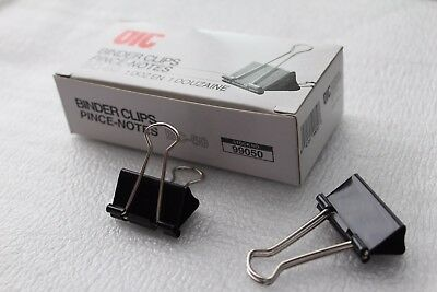 "OIC Officemate Binder Clips BC-50 1-1/4""Wide 5/8"" Capacity 1 Dozen Black 99050"