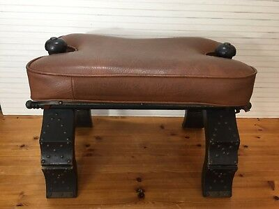 Vintage Wood Ottoman Horse Seat Bench Stool w/Holding Legs