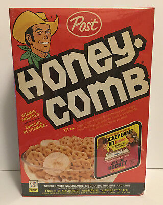 1973 Post Cereal Hockey Tournament of Nations Sealed Cereal Box Honey-Combs Vtg