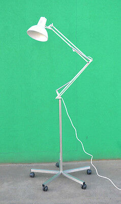 Vintage Luxo lamp industrial floor lamp off white wheels retro articulated lamp