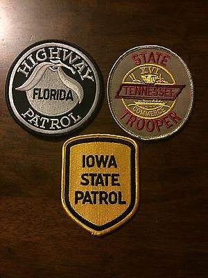 Set of 3 Highway Patrol and State Patrol Shoulder Patches