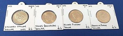 2009 & 2010 (12th - 15th) US President - Four $1's Uncirculated Coins
