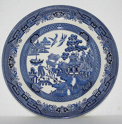 "Set of 3 Churchill Blue Willow Pattern 10-1/4"" Dinner Plates England EUC"
