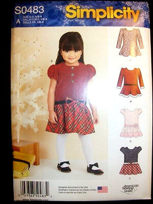 1262 Simplicity Toddlers Girls Special Dropped Waist Dress Pattern 0483 UC 1/2-4