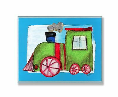 The Kids Room by Stupell Green Train with Blue Border Rectangle Wall P... NO TAX