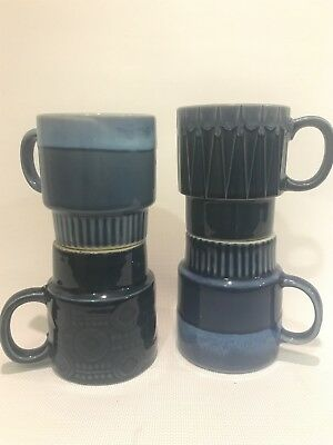 Four Vintage Blue Mugs - Made In Japan/china