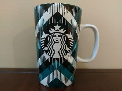 Starbucks Teal Plaid Mug 16 fl oz  Aqua Blue Black White Dot Collection 2015 Cup