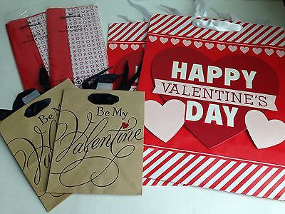 Lot of VALENTINE'S DAY Holiday (4) Gift Bags, (2)Tissue Paper BRAND NEW!