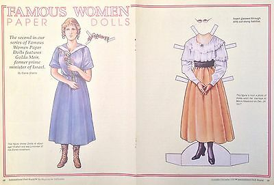 Golda Meir Magazine Paper Doll, 1990, International Doll World